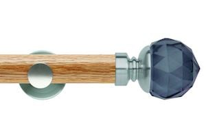 Rolls 35mm Neo Oak Smoke Grey Faceted Ball Stainless Steel Wooden Eyelet Pole