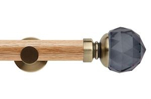 Rolls 35mm Neo Oak Smoke Grey Faceted Ball Spun Brass Wooden Eyelet Pole