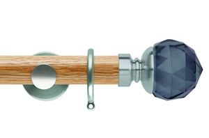 Rolls 35mm Neo Oak Smoke Grey Faceted Ball Stainless Steel Wooden Curtain Pole