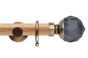 Rolls 35mm Neo Oak Smoke Grey Faceted Ball Spun Brass Wooden Curtain Pole