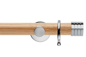 Rolls 35mm Neo Oak Stud Chrome Wooden Curtain Pole