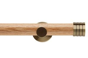 Rolls 35mm Neo Oak Stud Spun Brass Wooden Eyelet Pole