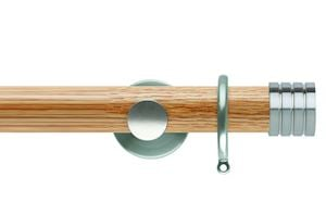 Rolls 35mm Neo Oak Stud Stainless Steel Wooden Curtain Pole