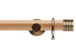 Rolls 35mm Neo Oak Stud Spun Brass Wooden Curtain Pole