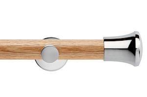 Rolls 35mm Neo Oak Trumpet Chrome Wooden Eyelet Pole - Thumbnail 1
