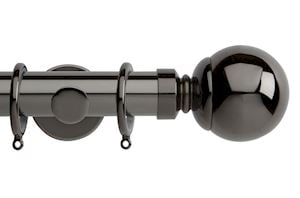 Rolls 35mm Neo Ball Metal Curtain Pole Black Nickel