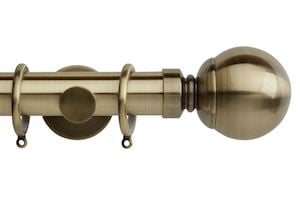Rolls 35mm Neo Ball Metal Curtain Pole Spun Brass