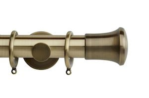Rolls 35mm Neo Trumpet Metal Curtain Pole Spun Brass