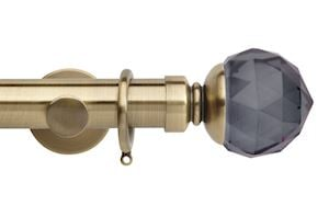 Rolls 35mm Neo Smoke Grey Faceted Metal Curtain Pole Spun Brass