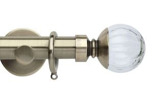 Rolls 35mm Neo Clear Pumpkin Metal Curtain Pole Spun Brass