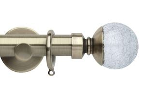 Rolls 35mm Neo Crackled Glass Metal Curtain Pole Spun Brass
