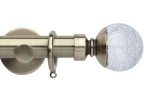 Rolls 35mm Neo Crackled Glass Metal Curtain Pole Spun Brass