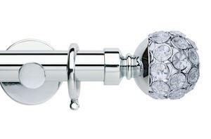 Rolls 35mm Neo Jewelled Ball Metal Curtain Pole Chrome