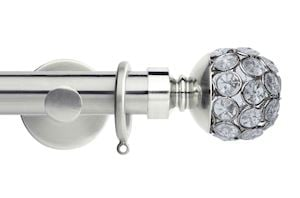 Rolls 35mm Neo Jewelled Ball Metal Curtain Pole Satin Steel