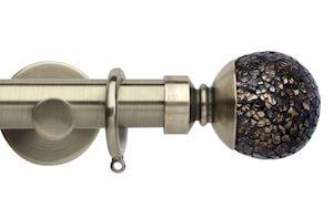 Rolls 35mm Neo Mosaic Ball Metal Curtain Pole Spun Brass