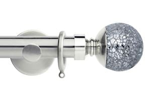 Rolls 35mm Neo Mosaic Ball Metal Curtain Pole Stainless Steel
