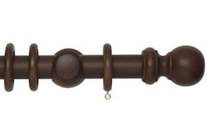 Rolls 35mm Woodline Wooden Curtain Pole Dark Oak - Thumbnail 1