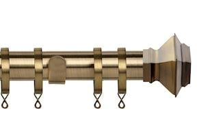 Speedy 35mm Aztec Curtain Pole Antique Brass - Thumbnail 1