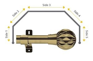 Swish 35mm Cruzar 5 Sided Bay Window Curtain Pole Antique Brass