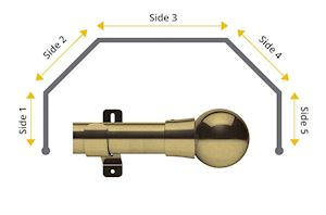 Swish 35mm Mondiale 5 Sided Bay Window Curtain Pole Antique Brass