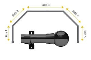 Swish 35mm Mondiale 5 Sided Bay Window Curtain Pole Graphite