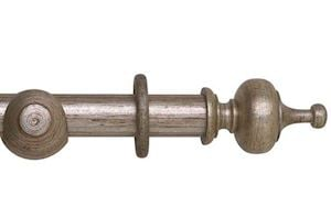 Rolls 45mm Museum Boudoir Wooden Curtain Pole Antique Silver