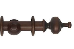 Hallis 45mm Museum Boudoir Wooden Curtain Pole Satin Chestnut