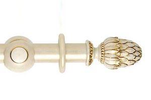 Hallis 45mm Museum Pantheon Wooden Curtain Pole Cream Gold