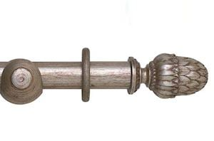 Hallis 45mm Museum Pantheon Wooden Curtain Pole Antique Silver