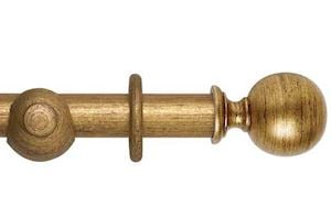 Hallis 45mm Museum Plain Ball Wooden Curtain Pole Antique Guilt