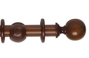 Rolls 45mm Museum Plain Ball Wooden Curtain Pole Antique Pine