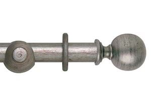 Hallis 45mm Museum Plain Ball Wooden Curtain Pole Antique Silver