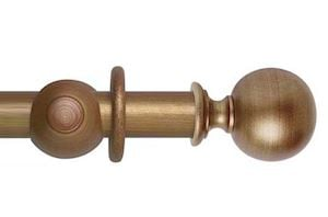 Hallis 45mm Museum Plain Ball Wooden Curtain Pole Red Gold