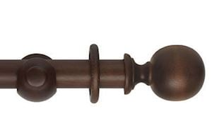 Hallis 45mm Museum Plain Ball Wooden Curtain Pole Satin Chestnut