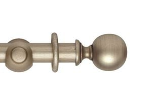 Hallis 45mm Museum Plain Ball Wooden Curtain Pole Satin Oyster