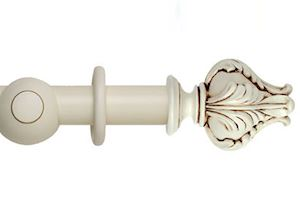 Hallis 45mm Museum Vienna Wooden Curtain Pole Antique White