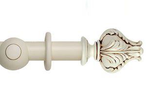 Hallis 45mm Museum Vienna Wooden Curtain Pole Antique White