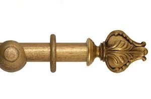 Hallis 45mm Museum Vienna Wooden Curtain Pole Antique Guilt