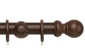 Rolls 50mm Woodline Wooden Curtain Pole Dark Oak