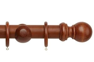 Rolls 50mm Woodline Wooden Curtain Pole Rosewood