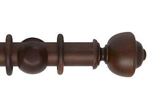Hallis 55mm Museum Plain Asher Wooden Curtain Pole Satin Chestnut
