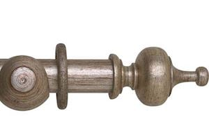 Hallis 55mm Museum Boudoir Wooden Curtain Pole Antique Silver