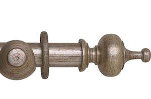 Hallis 55mm Museum Boudoir Wooden Curtain Pole Antique Silver