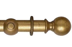 Hallis 55mm Museum Plain Ball Wooden Curtain Pole Antique Guilt