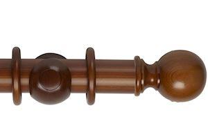 Rolls 55mm Museum Plain Ball Wooden Curtain Pole Antique Pine
