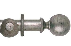 Hallis 55mm Museum Plain Ball Wooden Curtain Pole Antique Silver
