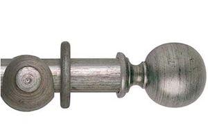Hallis 55mm Museum Plain Ball Wooden Curtain Pole Antique Silver