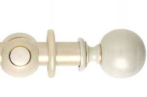 Hallis 55mm Museum Plain Ball Wooden Curtain Pole Cream Gold Wash