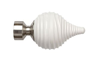 Speedy Swirl Cream 28mm Poles Apart Satin Silver Finial