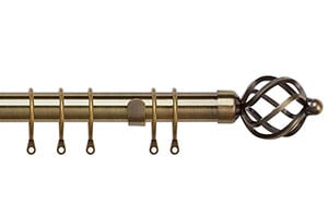Speedy 25-28mm Pristine Cage  Extendable Curtain Pole Antique Brass